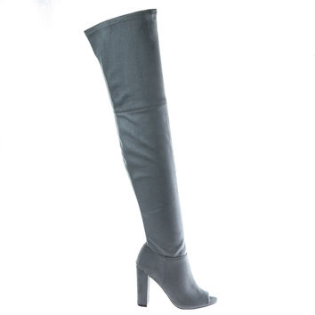 Morris58 Gray By Wild Diva, peep toe Over Knee thigh high suede boots on chunky block heel