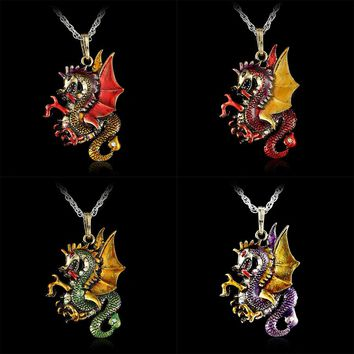 Gorgeous Antique Retro Gold Jewelry Dragon Pendants Long Sweater Character Necklaces Fashion Necklace For Women Modern Bijoux