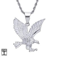 "Jewelry Kay style Men's Stainless Steel in Silver EAGLE Pendant 24"" Chain Necklace Set SCP 893 S"