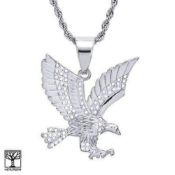 """Jewelry Kay style Men's Stainless Steel in Silver EAGLE Pendant 24"""" Chain Necklace Set SCP 893 S"""