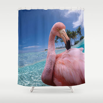 Pink Flamingo Shower Curtain by Erika Kaisersot
