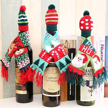 Christmas Supplies Cartoon Knit Hat Scarf Set Two-Piece Wine Bottle Decoration