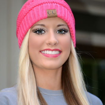Candy Pink Slouchy Knit Beanie
