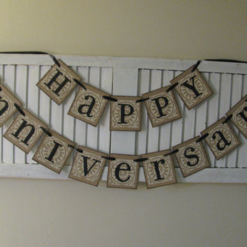 Happy Anniversary Banner Garland Bunting Sign Vintage Look Great Photo Prop Golden Silver Anniversary