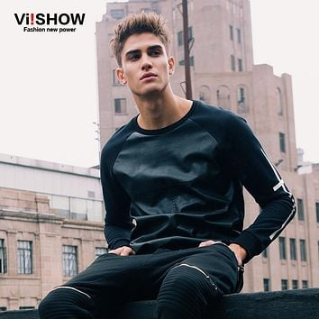 VIISHOW Hoodies Men Sweatshirt Pullover Men Leather Hoodie Hip Hop Casual Jacket Oversize Men SportSuit Clothing M-5XL W125153