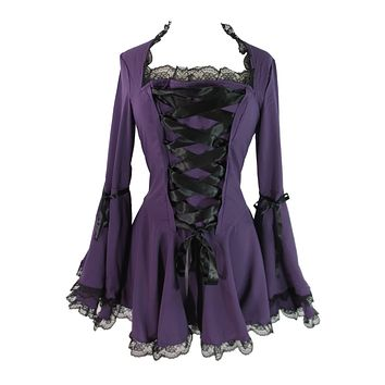 Victorian Gothic Steampunk Bell Sleeve Ribbon Lace Top