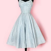 1950's Blue Print Halter Dress Circle Skirt 1950's Halter Dress Circle Skirt :
