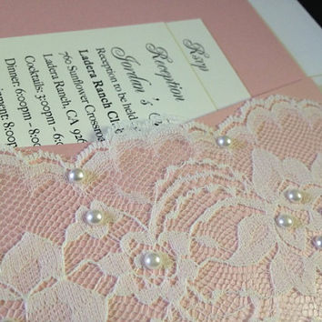 50 PInk Pocketfold with Lace & Pearls by PaperDivaInvitations