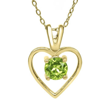 Green Peridot August Birthstone 18K Yellow Gold Plated Silver Pendant With Chain