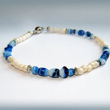 Blue Beachy Bracelet - cream, silver and blue with magnetic clasp