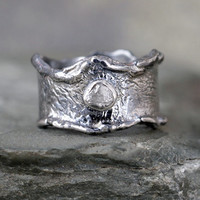 Raw Diamond Ring - Ready to Ship Size 8.5 - Limited Edition - Rustic Sterling Silver - Rough Uncut Diamonds - Made in Canada