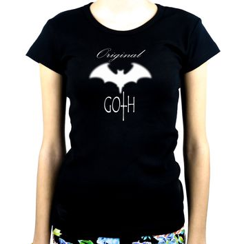 Original Goth with Bat Women's Babydoll Shirt Dark Gothic Clothing
