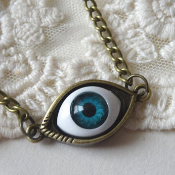 1- Blue Eye Ball Necklace Big all seeing human eye Long Bronze Chain PeculiarCollective Jewelry Finished Necklace
