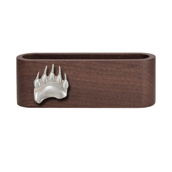 Wooden Business Card Holder with Fine Pewter Bear Paw Emblem