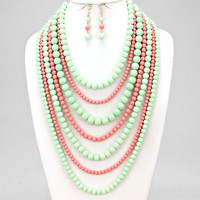 Lady Pearl Coral Mint Necklace Set