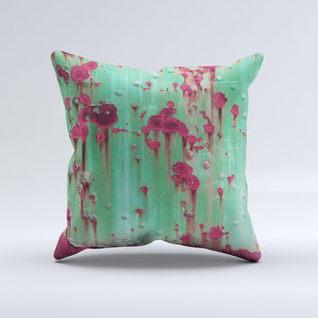 Trendy Green with Pink Rust  Ink-Fuzed Decorative Throw Pillow