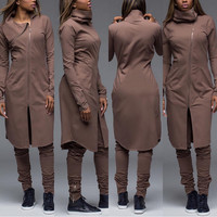 Long Sleeve Turtleneck Asymmetric Zip Top and Drawstring Pants