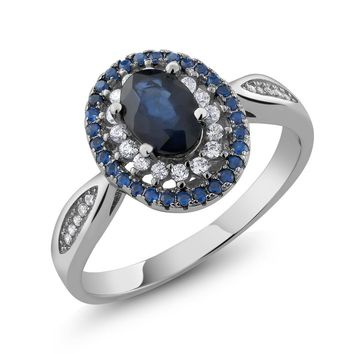 1.6Ct Blue Natural Sapphire Vintage Ring