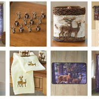Deer Bathroom Collection Cabin Lodge Country Sportsman Hunter Lodge