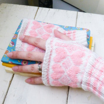 Knit fingerless gloves, knit wrist warmers, white wrist warmers, fair isle knit, winter accessory, ready to ship, hand crochet, pink hearts