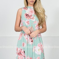 Rosy Floral Sea Foam Dress