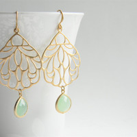 Matte Gold Filigree Pendant Dangle Earrings with Opaque Light Green Jade Faceted Glass Drops