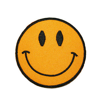 Smiley Face Iron On Patch Embroidery Sewing DIY Customise Denim Cotton