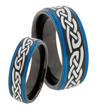 His Hers Celtic Knot Infinity Love Blue Step Edges Tungsten Men's Wedding Band Set