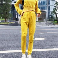 """Champion"" Women Fashion Letter Print Short Paragraph Long Sleeve Trousers Set Two-Piece Sportswear"