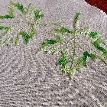 Vintage ivory Embroidery (1970), maple leaves, Handmade, sewing machine machine embroidery Home Living Home Décor Ornaments Accents MyWealth