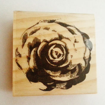 Flower stamp, rose, blooming flower stamp, wooden, beautiful stamp, large, wooden, rubber, ready to ship, michaels, wedding stamp, diy cards