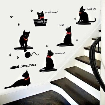 CREYUG3 Fashionable Living Room Bedroom Background Decoration Cartoon Black Cat Family Wall Stickers - Photo Color HG-WS-1807