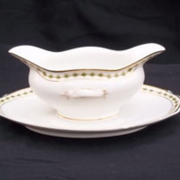 Antique Sauce Boat. 1 Piece. Limoges-France. Pattern: Green Diamonds, Gold Rings