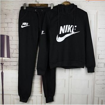 "Women Fashion ""NIKE"" Print Hoodie Top Sweater Pants Sweatpants Set Two-Piece Sportswear BLACK F"