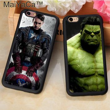 MaiYaCa Marvel Comic Superhero Hulk Captain America Mobile Phone Cases For iPhone 6 6S Plus 7 Plus 5 5S SE Soft TPU Cover Shell