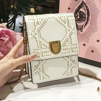 DIOR Trending Ladies Leather Metal Chain Buckle Shoulder Bag Mobile Phone Package Satchel Crossbody White I-QS-MP-JZLB
