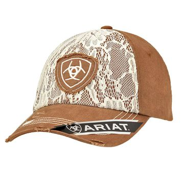 ARIAT Brown and Ivory Lace Cap
