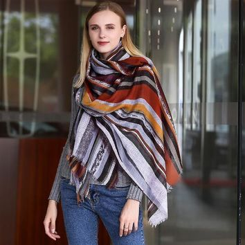 Colorful Stripe Wraps Scarf for Women