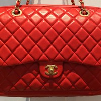 Chanel Lipstick Red Lambskin Brush Gold HW Camera Case Flap Bag 14C Authentic BN