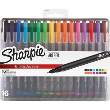 Sharpie Art Pens, Fine Point, 16 Ct Assorted Colors, Hard Case  [Sharpie]