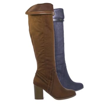 Mention Western Perforated Knee High Dress Boots w Chunky Block Heel