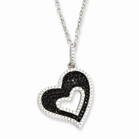 Sterling Silver & CZ Heart Necklace