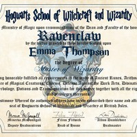 Ravenclaw House Personalized Harry Potter Diploma - Hogwarts School of Witchcraft and Wizardry Degree of Master of Wizardry