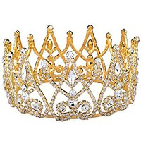 Stuffwholesale Royal Gold Silver Crown Rhinestone Crystal Princess Queen Tiaras Party Prom Pageant Hair Jewelry with Bobby Pins (Gold)