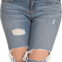 Destroyed Skinny Ankle Denim Jeans