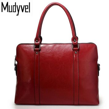 New Women's Bag Genuine Cow Leather Handbags Slim 14-inch Laptop Briefcase Purse Women Shoulder Bags Tote Bag