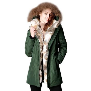 2017 New Winter Women Down Puffer Jacket Female Raccoon Fur Hooded Duck Down Coats Warm Long Coat Thicken Parkas Abrigo Mujer