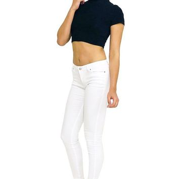 Mid Rise Casual 5 Pocket Basic Stretch Cotton Skinny Jeggings