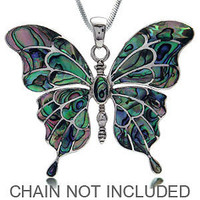 HUGE Abalone/Paua Shell 925 Sterling Silver Butterfly Pendant PD2057564.0001 SilverShake.com
