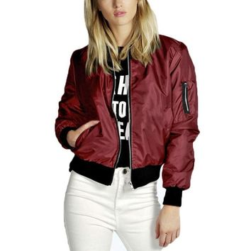 Women Bomber Jacket Long Sleeve Coat Casual